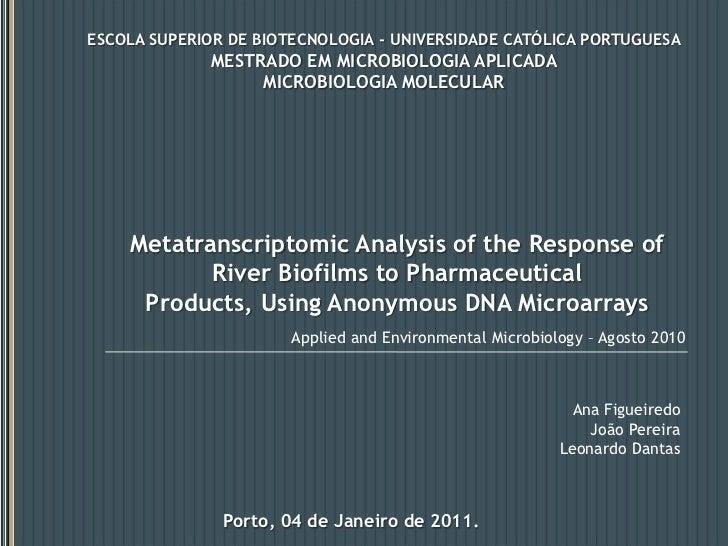 ESCOLA SUPERIOR DE BIOTECNOLOGIA - UNIVERSIDADE CATÓLICA PORTUGUESA<br />MESTRADO EM MICROBIOLOGIA APLICADA<br />MICROBIOL...