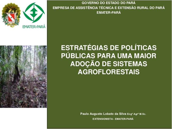 Dia 2 - Estratégias de politicas públicas para uma maior adoção de sistemas agroflorestais - Paulo Augusto Lobato da Silva