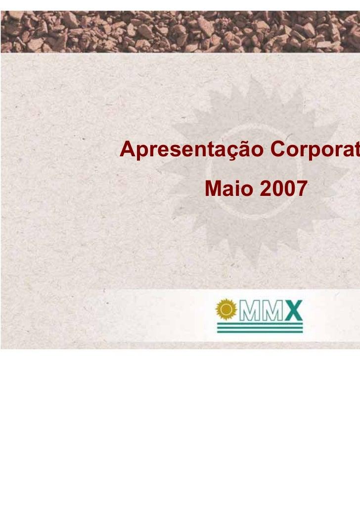 Apresentação Corporativa       Maio 2007