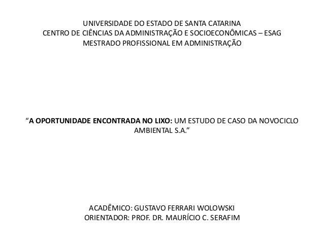 UNIVERSIDADE DO ESTADO DE SANTA CATARINA    CENTRO DE CIÊNCIAS DA ADMINISTRAÇÃO E SOCIOECONÔMICAS – ESAG              MEST...