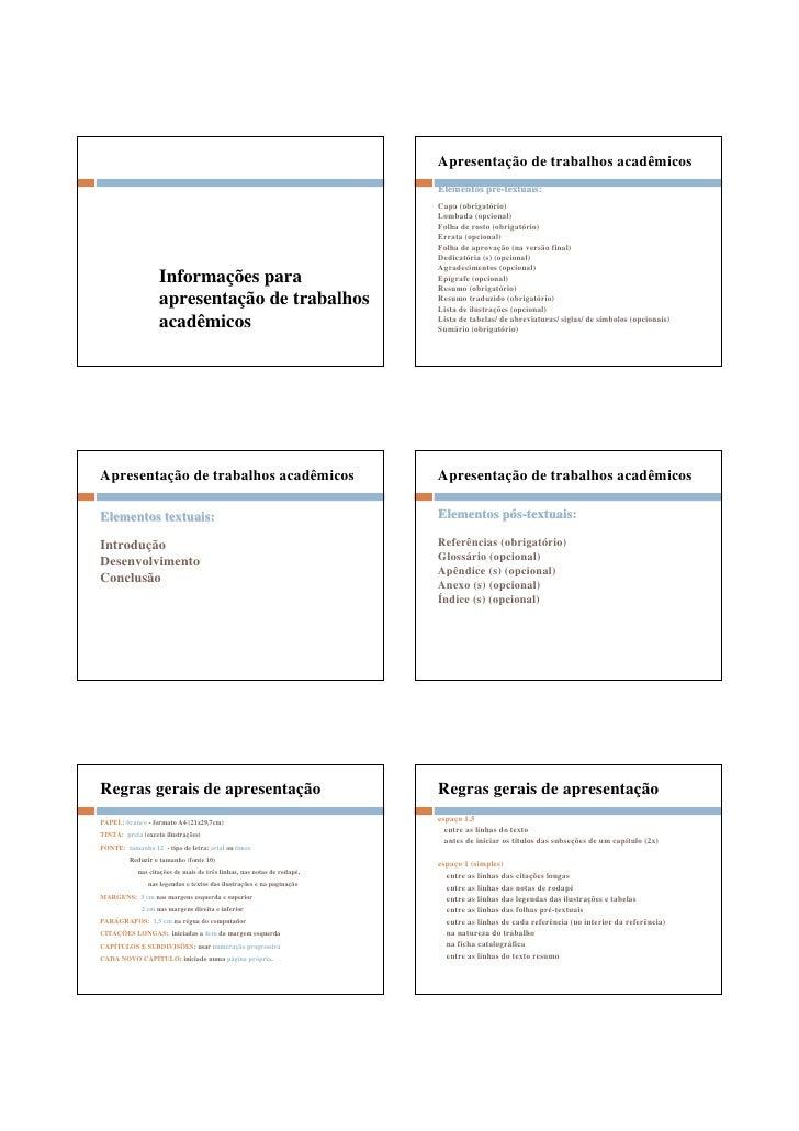 Apresentação de trabalhos acadêmicos                                                                         Elementos pré...