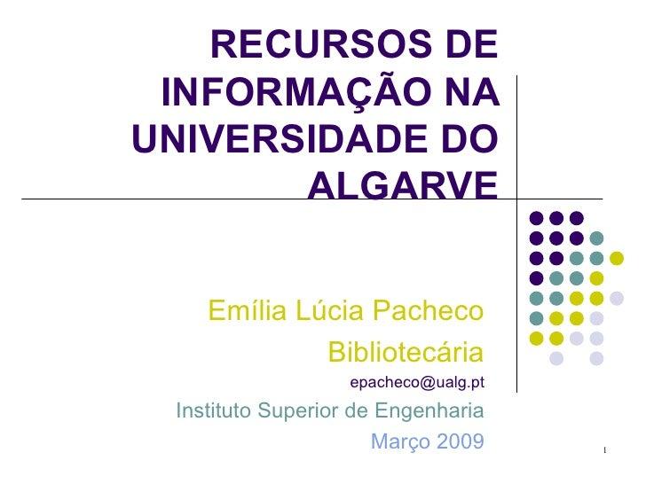 Apresentação recursos de informação na biblioteca do ISE 09
