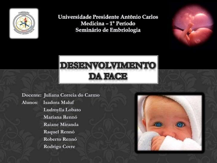 Universidade Presidente Antônio CarlosMedicina – 1° Período<br />Seminário de Embriologia<br />Desenvolvimento da Face <br...