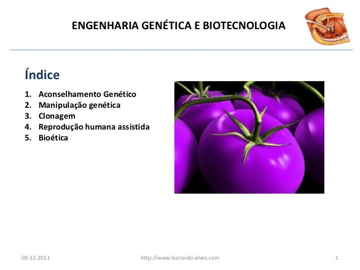 ENGENHARIA GENÉTICA E BIOTECNOLOGIA Índice 1.   Aconselhamento Genético 2.   Manipulação genética 3.   Clonagem 4.   Repro...