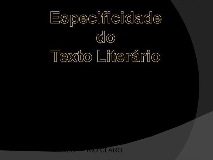 Especificidade do Texto Literário