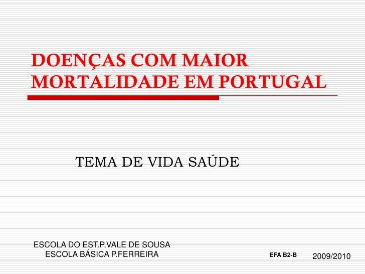 DOENÇAS COM MAIOR MORTALIDADE EM PORTUGAL            TEMA DE VIDA SAÚDE     ESCOLA DO EST.P.VALE DE SOUSA   ESCOLA BÁSICA ...