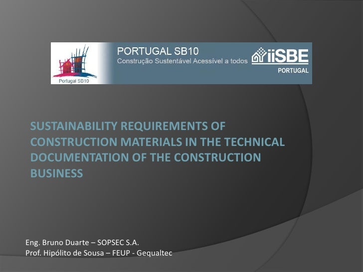 SUSTAINABILITY REQUIREMENTS OF CONSTRUCTION MATERIALS IN THE TECHNICAL DOCUMENTATION OF THE CONSTRUCTION business<br />Eng...