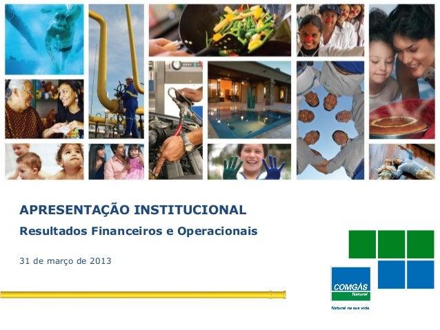 1APRESENTAÇÃO INSTITUCIONALResultados Financeiros e Operacionais31 de março de 2013