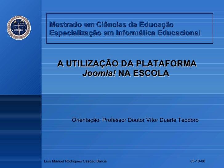 A Utilização da Plataforma Joomla! na Escola