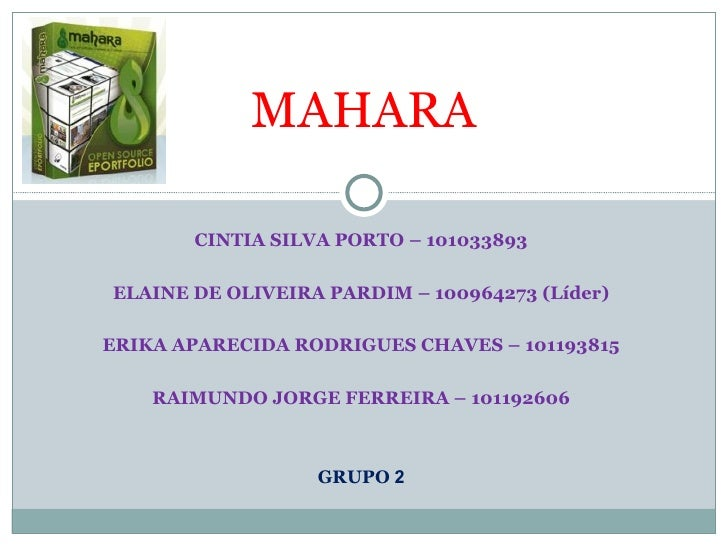 MAHARA       CINTIA SILVA PORTO – 101033893ELAINE DE OLIVEIRA PARDIM – 100964273 (Líder)ERIKA APARECIDA RODRIGUES CHAVES –...