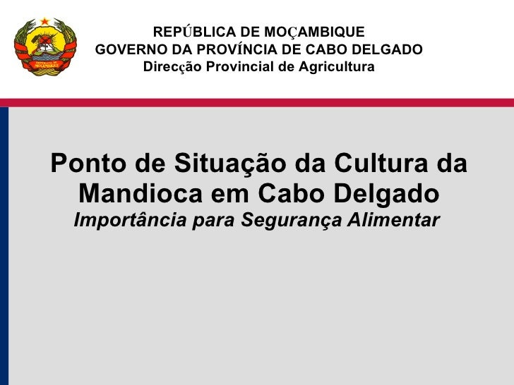 Ponto de Situação da Cultura da Mandioca em Cabo Delgado Importância para Segurança Alimentar  REP Ú BLICA DE MO Ç AMBIQUE...