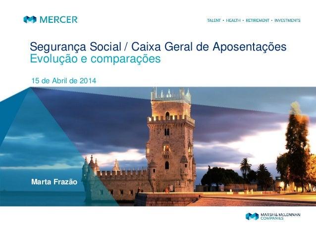 Segurança Social / Caixa Geral de Aposentações Evolução e comparações 15 de Abril de 2014 Marta Frazão