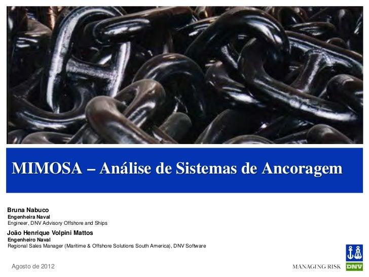 MIMOSA – Análise de Sistemas de AncoragemBruna NabucoEngenheira NavalEngineer, DNV Advisory Offshore and ShipsJoão Henriqu...