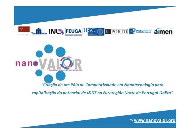 """""""Criação de um Pólo de Competitividade em Nanotecnologia paracapitalização do potencial de I&DT na Euroregião Norte de Por..."""