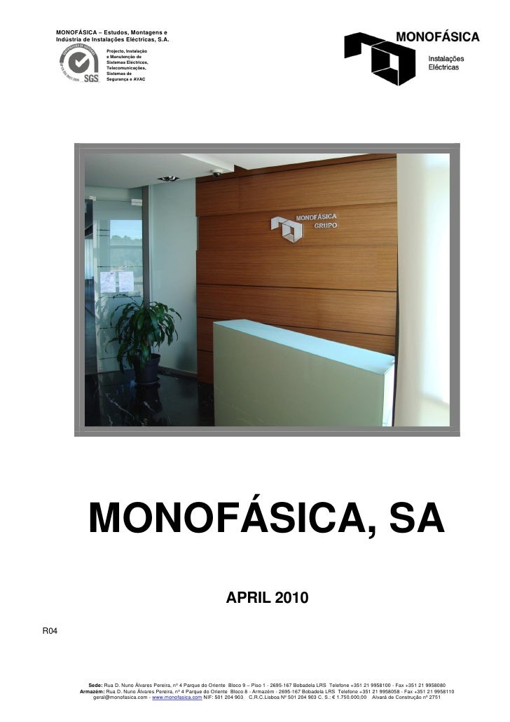 Monofásica's presentation - Projects in detailed format