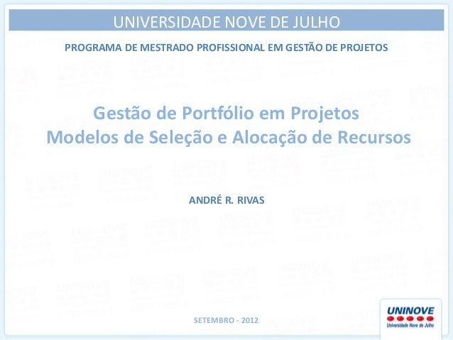 Apresentação para seleção de projetos e alocação de recursos