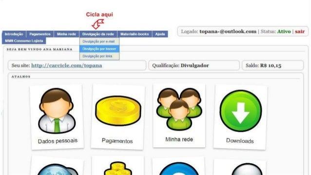 Cicla aqui                   uaterweàmks Logado:  topana-@outlookcom |  Status:  Ativo l sair  Divulgaçãoda rede  Divulgaç...