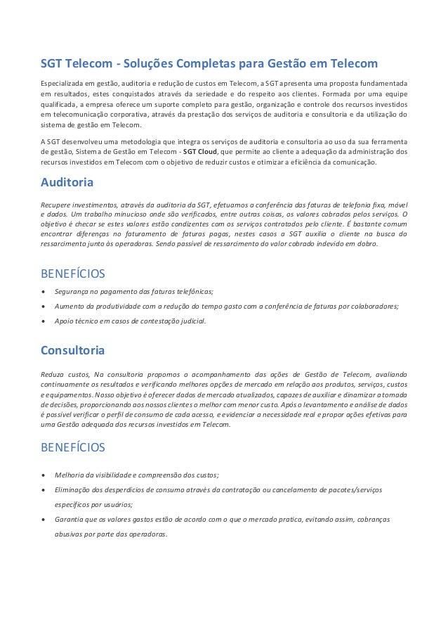 SGT Telecom - Soluções Completas para Gestão em Telecom Especializada em gestão, auditoria e redução de custos em Telecom,...