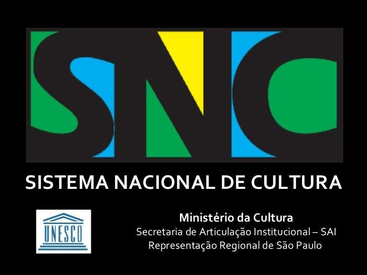 SISTEMA NACIONAL DE CULTURA                  Ministério da Cultura         Secretaria de Articulação Institucional – SAI  ...
