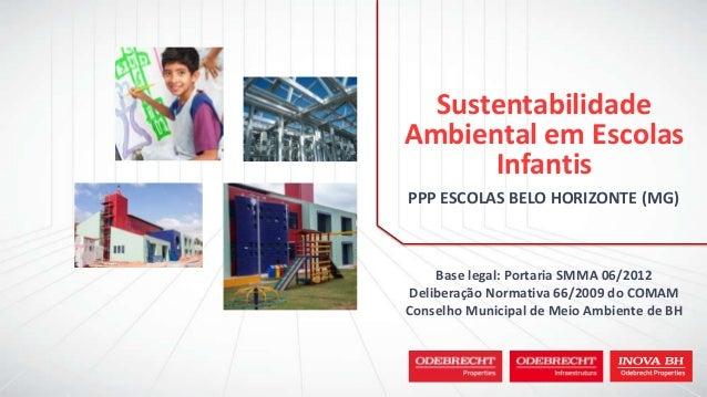 PPP ESCOLAS BELO HORIZONTE (MG) Sustentabilidade Ambiental em Escolas Infantis Base legal: Portaria SMMA 06/2012 Deliberaç...