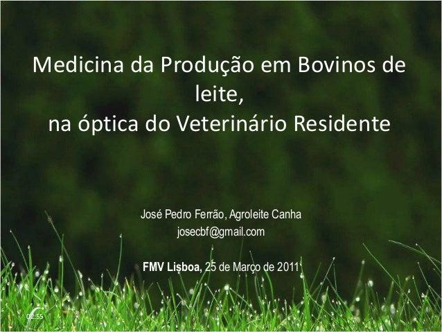 Medicina da Produção em Bovinos deleite,na óptica do Veterinário ResidenteJosé Pedro Ferrão, Agroleite Canhajosecbf@gmail....