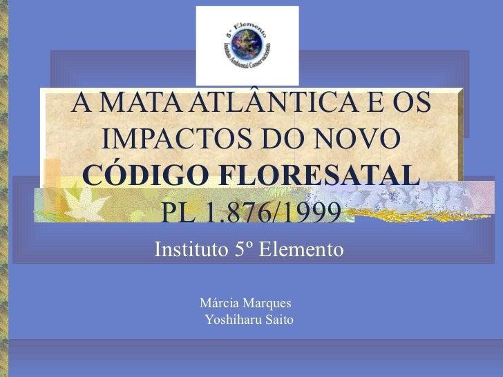 A MATA ATLÂNTICA E OS  IMPACTOS DO NOVOCÓDIGO FLORESATAL     PL 1.876/1999    Instituto 5º Elemento         Márcia Marques...