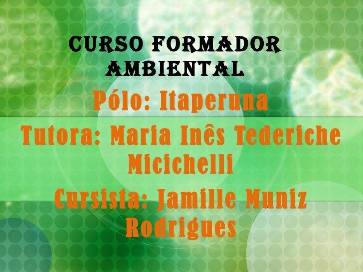 Curso Formador Ambiental Pólo: Itaperuna Tutora: Maria Inês Tederiche Micichelli Cursista: Jamille Muniz Rodrigues