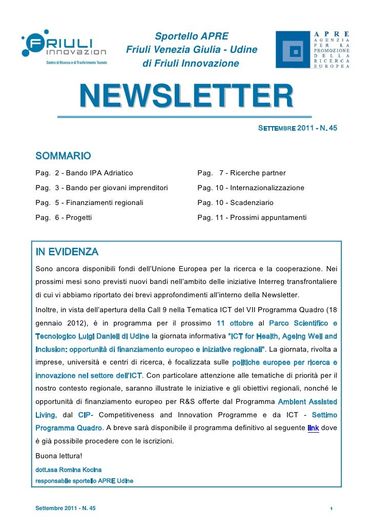 Apre ud   newsletter n. 45, settembre 2011