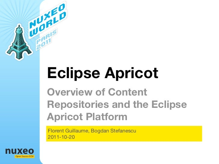 Eclipse Apricot                  Overview of Content                  Repositories and the Eclipse                  Aprico...