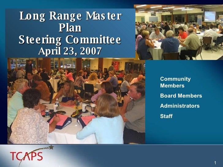 Community Members  Board Members Administrators Staff Long Range Master Plan Steering Committee April 23, 2007 1