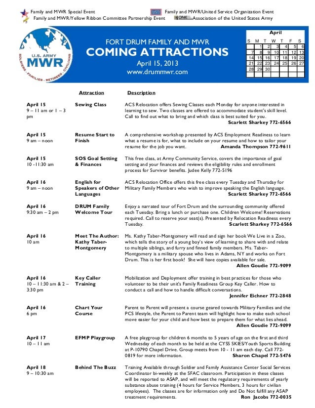 April 15 2013 Family and MWR Coming Attractions