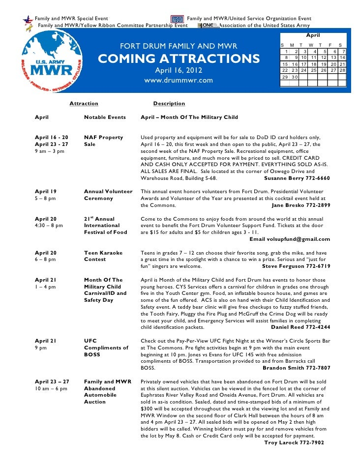 FMWR Coming Attractions 16 April 2012