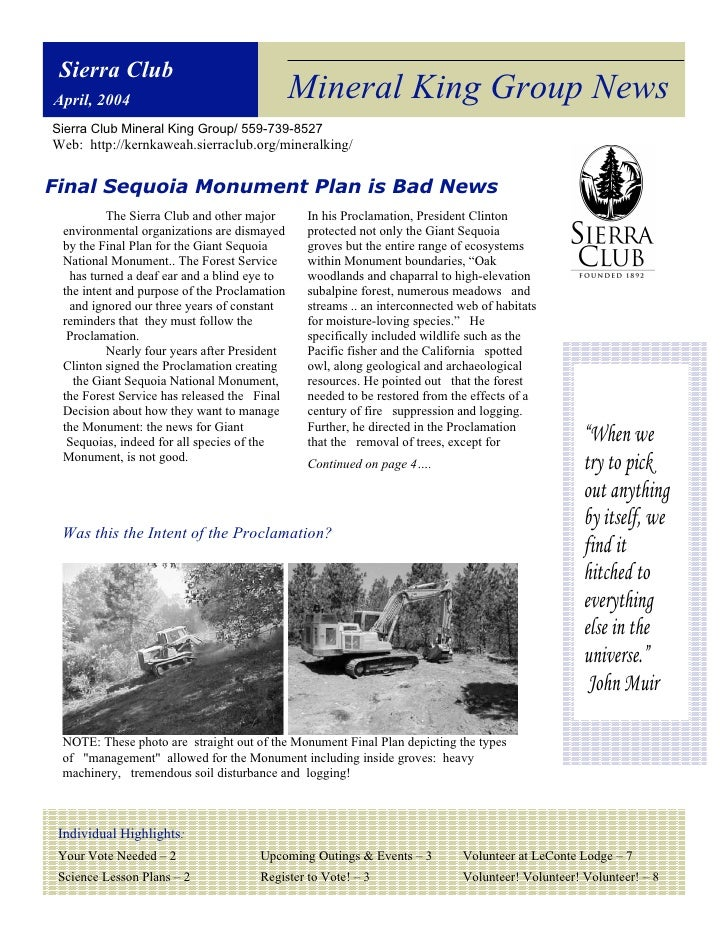 April 2004 Mineral King Group Newsletter, Sierrra Club