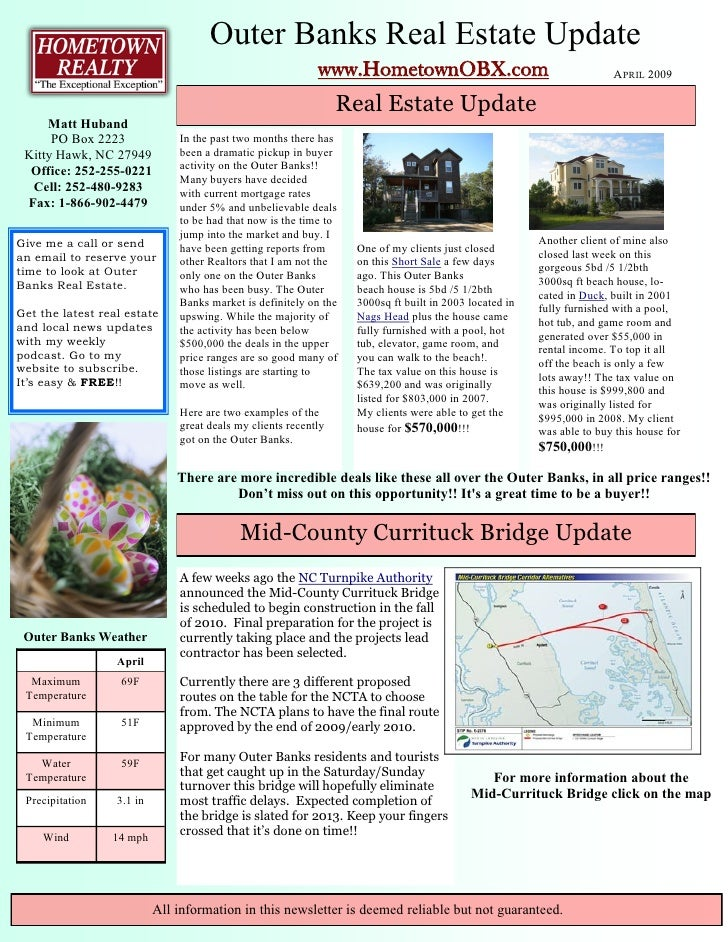 Outer Banks Real Estate Update                                                             www.HometownOBX.com            ...
