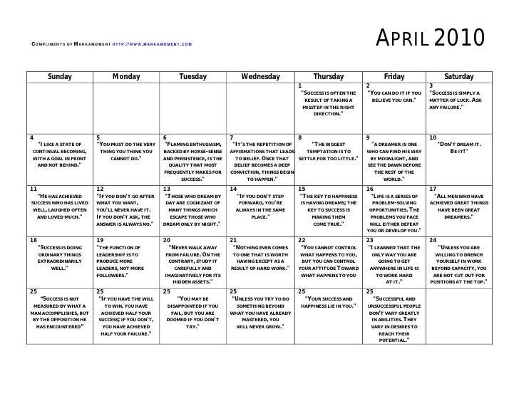 Monthly Motivational Calendar April 2010