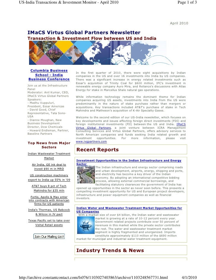 US-India Transactions & Investment Monitor - April 2010                                                     Page 1 of 3   ...