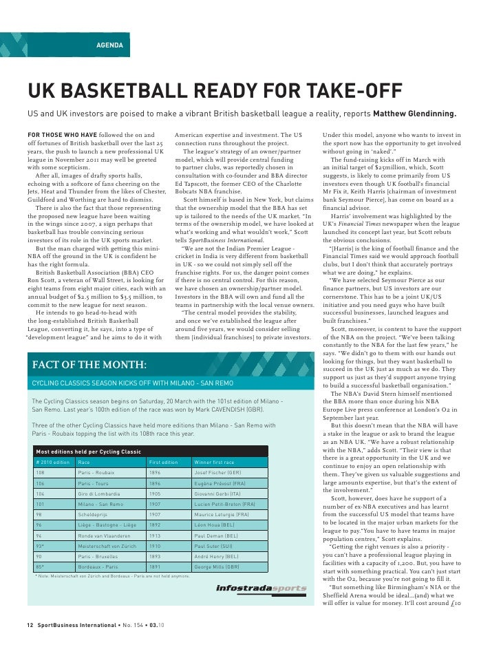 AgendaUK BASKETBALL READY FOR TAKE-OFFUS and UK investors are poised to make a vibrant British basketball league a reality...