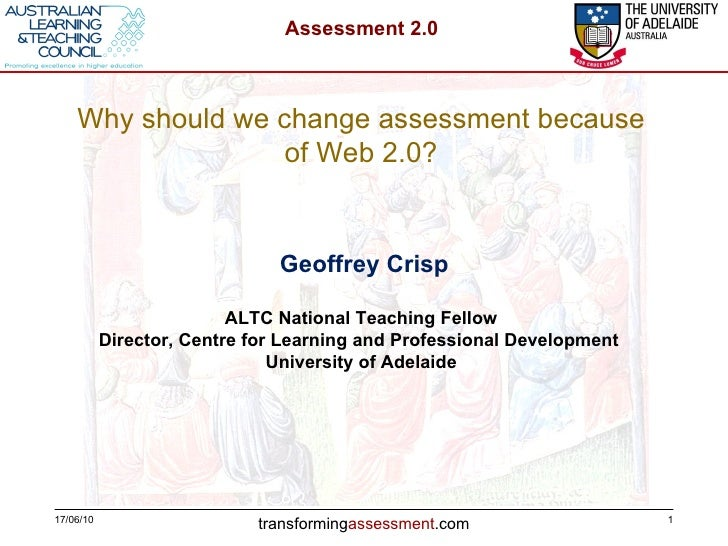 17/06/10 Geoffrey Crisp ALTC National Teaching Fellow Director, Centre for Learning and Professional Development  Universi...