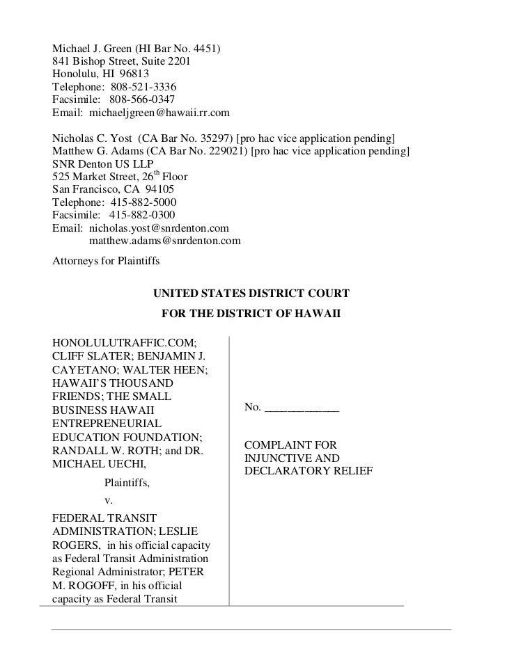 April 2011 Rail Lawsuit