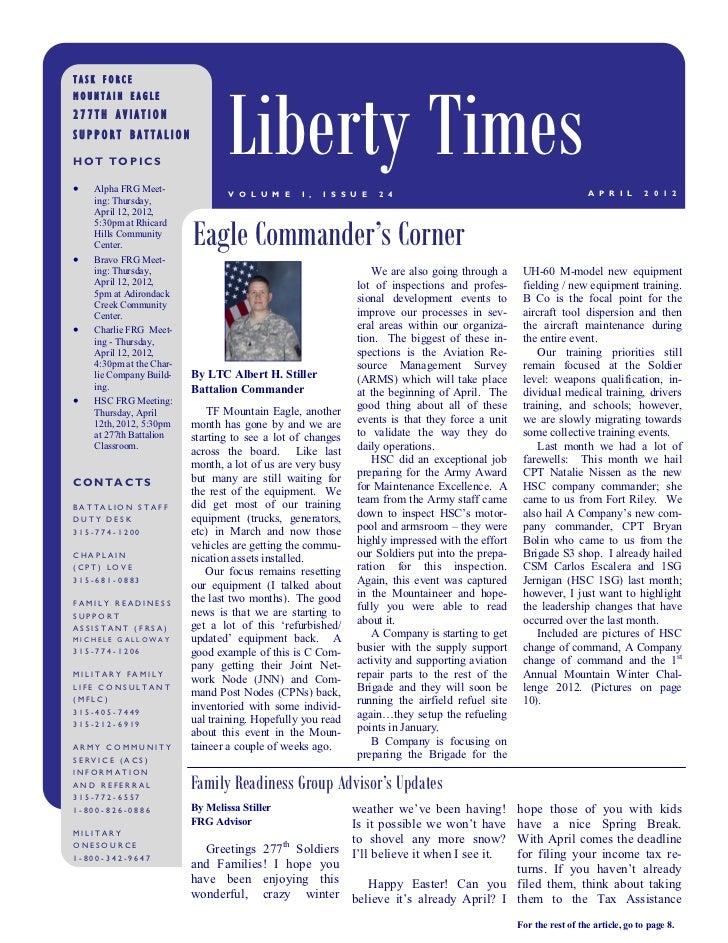 Liberty TimesTASK FORCEMOUNTAIN EAGLE277TH AVIATIONSUPPORT BATTALIONHOT TOPICS   Alpha FRG Meet-                         ...