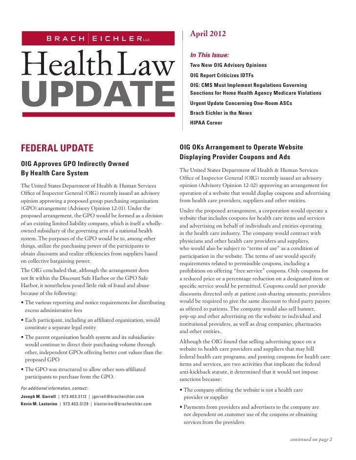 April 2012 Health Law Update