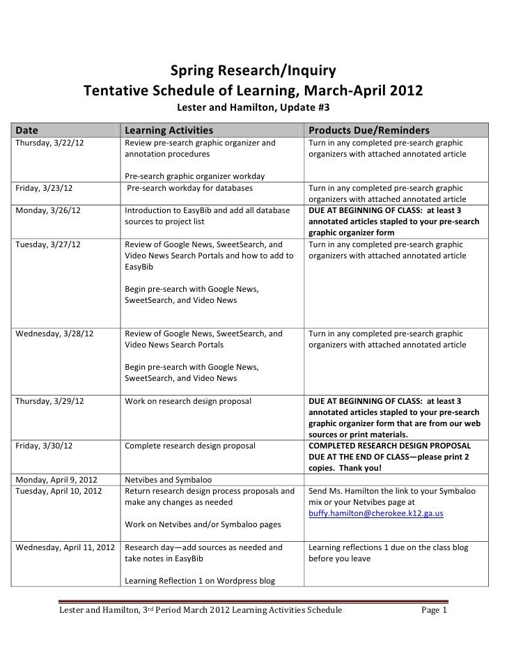 Spring Research/Inquiry                   Tentative Schedule of Learning, March-April 2012                                ...