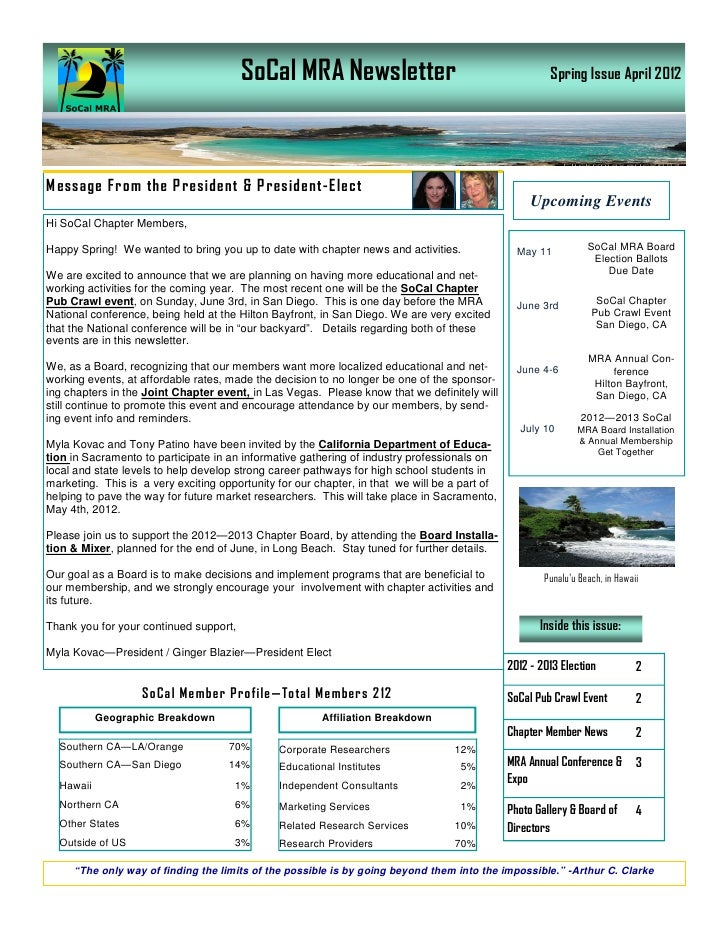 SoCal MRA Newsletter                                            Spring Issue April 2012M essage From the P resident & P re...