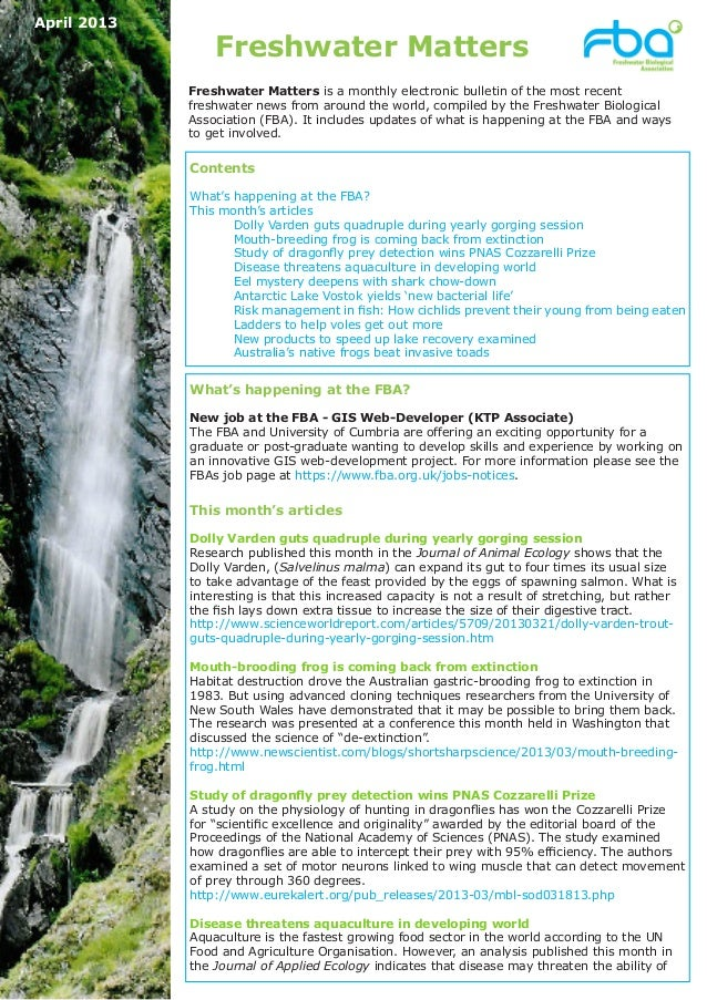April 2013                 Freshwater Matters             Freshwater Matters is a monthly electronic bulletin of the most ...