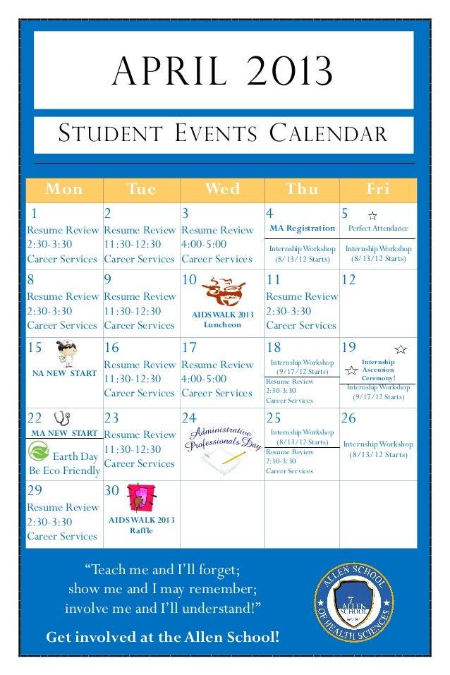 April 2013   student activities calendar - jamaica