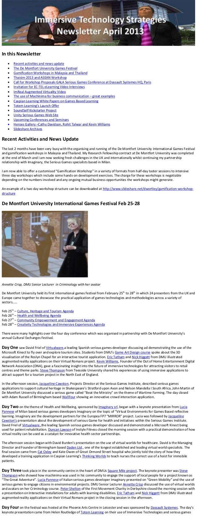 In this Newsletter       Recent activities and news update       The De Montfort University Games Festival       Gamifi...
