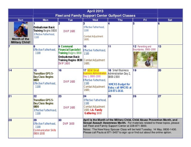 April 2013                                              Fleet and Family Support Center Gulfport Classes         Sun      ...
