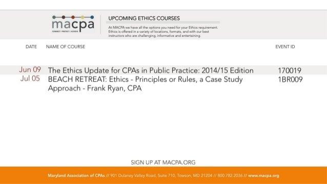 MACPA / BLI Events, Public Seminars & Webcasts - April, 2014