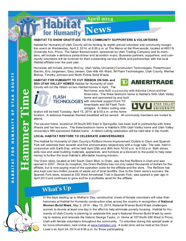 HammerTime HABBITATFORHUMANITYOFUTAHCOUNTY News April 2014 HABITAT TO SHOW GRATITUDE TO ITS COMMUNITY SUPPORTERS & VOLUNTE...