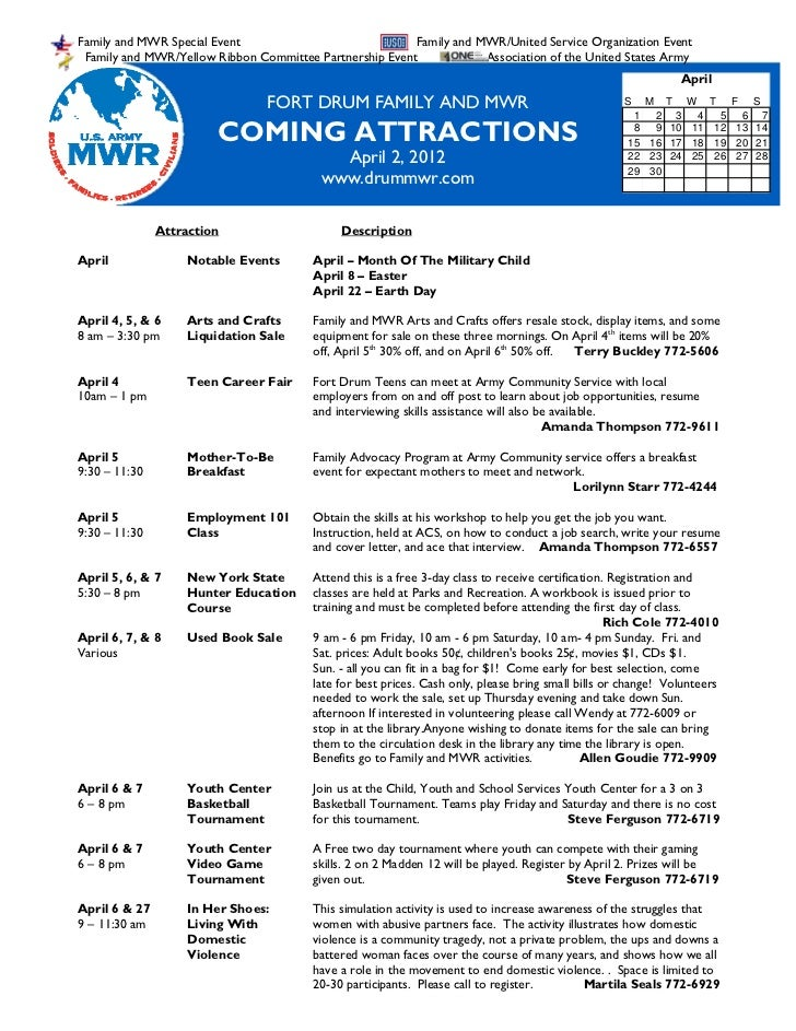April 2 2012 FMWR Coming Attractions